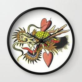 Traditional Dragon Tattoo Flash Wall Clock