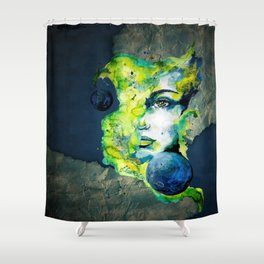 Esther Green (Set) by carographic watercolor portrait Shower Curtain