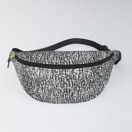calligraphy pattern, black and white background, vintage texture Fanny Pack