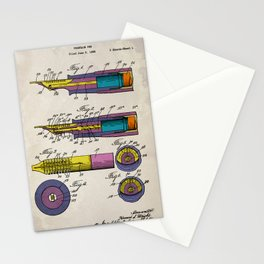 Fountain pen patent colorful vintage brown background Stationery Cards