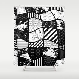 Crazy Patchwork (Abstract, black and white, geometric designs) Shower Curtain