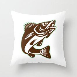 Walleye Fish Jumping Isolated Retro Throw Pillow