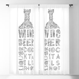 Bottle Drinks Tag Cloud Blackout Curtain