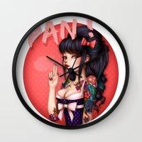 rockabilly Wall Clocks featuring Rockabilly Girl ! by Christine Alcouffe