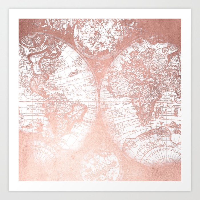 Rose gold pink antique world map by nature magick art print by rose gold pink antique world map by nature magick art print gumiabroncs Choice Image