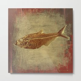 Ancient Fossil Fish, Nautical Décor, Coastal Decor, Beach Art Metal Print