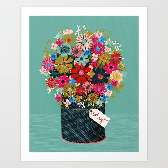 Flower Pot - Flowers for you, Floral, Vintage Retro Flower tin  Art Print
