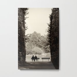 Couple sitting on bench Metal Print
