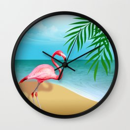 FLAMINGO BEACH Wall Clock