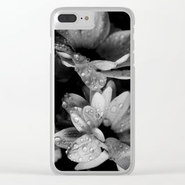Flower and drops. Black and white. Clear iPhone Case