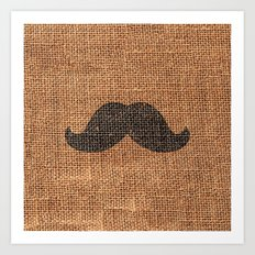 Black Funny Mustache on Brown Jute Burlap Texture Art Print
