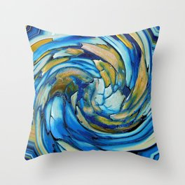 Gold N Blue Abstract Dolphin  Throw Pillow