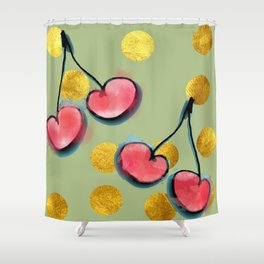 Cherry with gold dots Shower Curtain