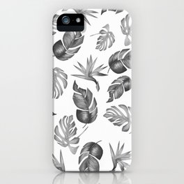 Plam Pattern Light Black and White iPhone Case