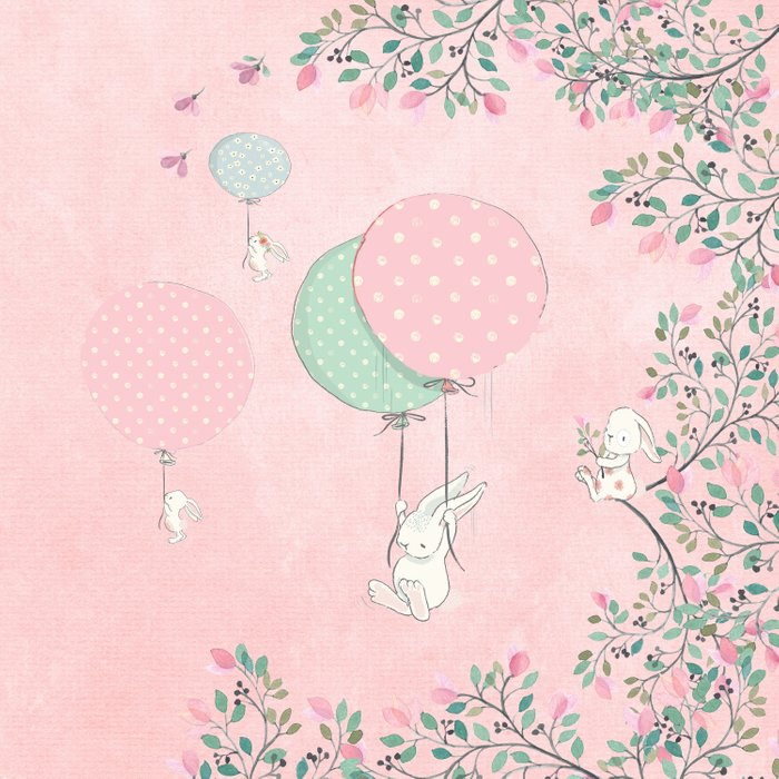 Cute flying Bunny with Balloon and Flower Rabbit Animal on pink floral background Comforters