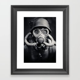 German Solider in a Gas Mask from World War II Framed Art Print