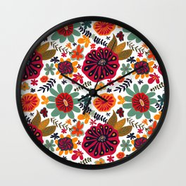 Bright Playful Flowers, white background Wall Clock