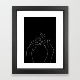Hands line drawing illustration - Abi black Framed Art Print