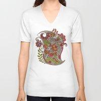 random V-neck T-shirts featuring Random Flowers by Valentina Harper