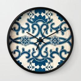 Blue Oriental Vintage Tile 02 Wall Clock