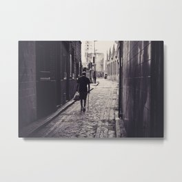 Backview of a man in alley Metal Print