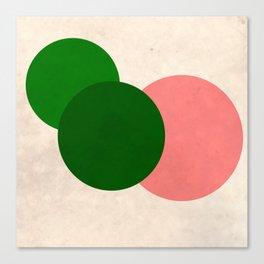 Living Coral Green Vintage Mod Circles Canvas Print