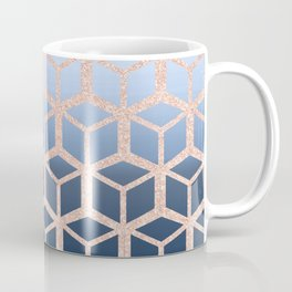 blue ombre with rose gold cube pattern Coffee Mug