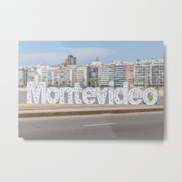 Montevideo Letters at Pocitos Beach Metal Print