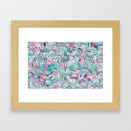 Elegant Abstract Teal and Peach Leaves Artwork Framed Art Print