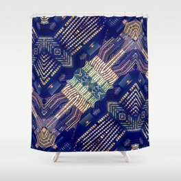 Lighted City Structures Shower Curtain
