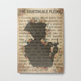 Job Jobs The Nightingale Pledge Nurse With Lamp Metal Print