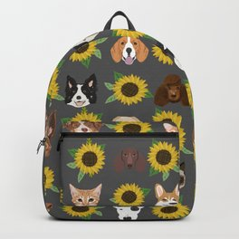 Dogs and cats pet friendly sunflowers animal lover gifts dog breeds cat person Backpack