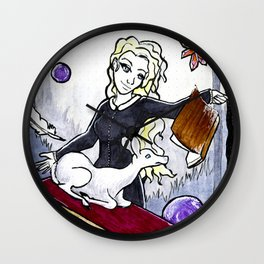 Witch and her white deer familiar/spirit animal Wall Clock