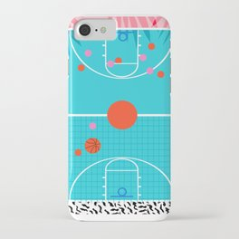 Hoops - throwback retro 80s basketball sports athlete neon 1980's memphis style art iPhone Case