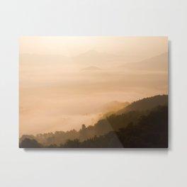 Modern Minimalist landscape Sepia Sunset Parallax Mountain Silhouette Metal Print
