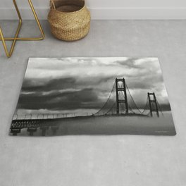 Mackinac Bridge fog Rug