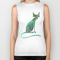 mid century Biker Tanks featuring Mid-Century Feline by a. peterson