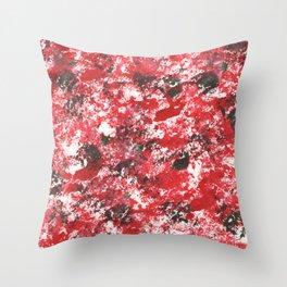 Red Camo Pattern Print Acrylic Artwork Black Splatter Painting Throw Pillow