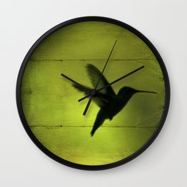 Neon Green Hummingbird behind the Blinds by CheyAnne Sexton Wall Clock