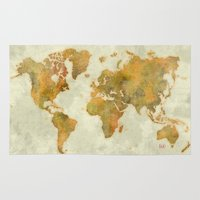 vintage map Area & Throw Rugs featuring  World Map Yellow Vintage by City Art Posters
