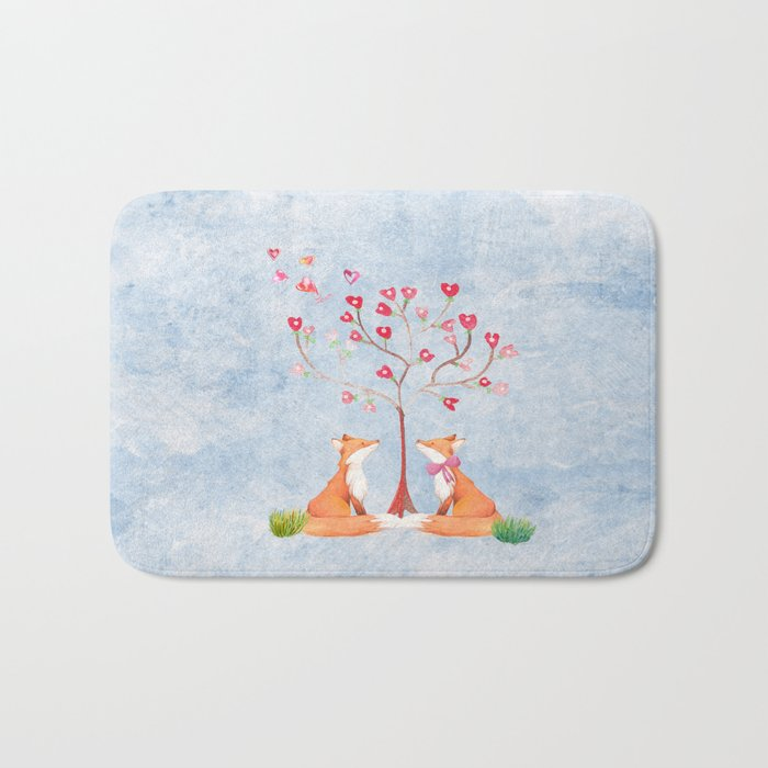 Fox love- foxes animal nature _ Watercolor illustration on #Society6 Bath Mat