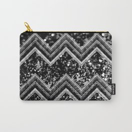 Black Night Glitter Chevron #1 #shiny #decor #art #society6 Carry-All Pouch