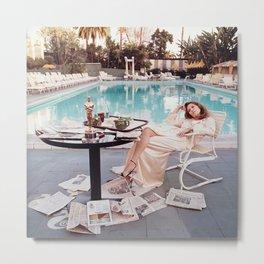 Faye Dunaway Art Print, vintage, hollywood, designer wall art, retro Metal Print