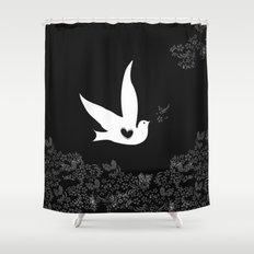 Love and Freedom - Black Shower Curtain