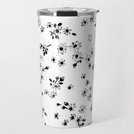 Fashion Floral design Black&White print Flower Travel Mug