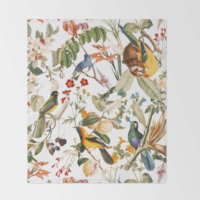 Floral and Birds XXXII Throw Blanket