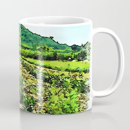 Hortus Conclusus: vegetable field and hill Coffee Mug