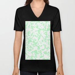 Spots - White and Light Green Unisex V-Neck