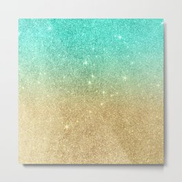 Aqua teal abstract gold ombre glitter Metal Print