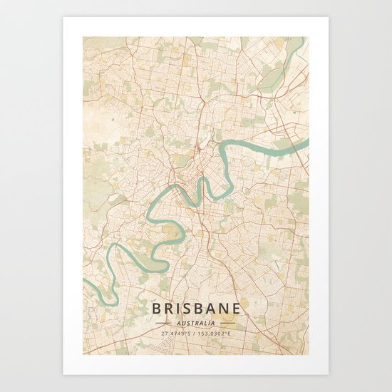 Brisbane, Australia - Vintage Map by designermapart